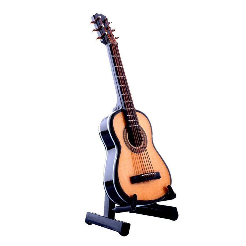 1:12 Mini Acoustic Guitar Wooden Miniature Musical Dollhouse Toy With Case New - intl