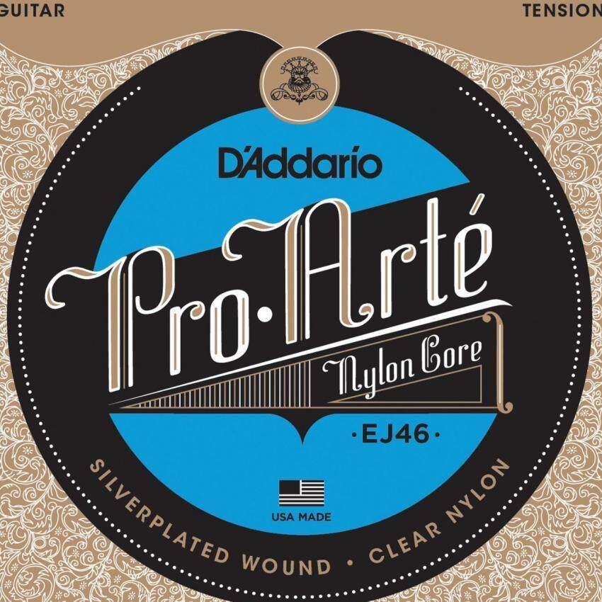 D'Addario สายกีต้าร์คลาสสิค รุ่น EJ46 - สายไนล่อนคุณภาพสูง ตระกูล Pro-Arte แรงดึงคงที่ตลอดเส้น พันรอบด้วยลวดชุบเงินสเตอริง ให้เสียงใส