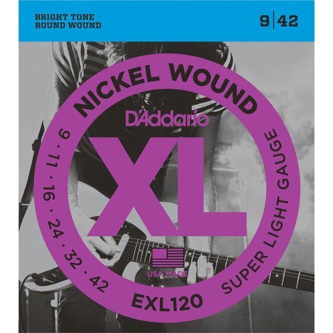 D'Addario สายกีตาร์ไฟฟ้า รุ่น EXL120 Nickel Wound Electric Guitar Strings, Super Light, 09-42