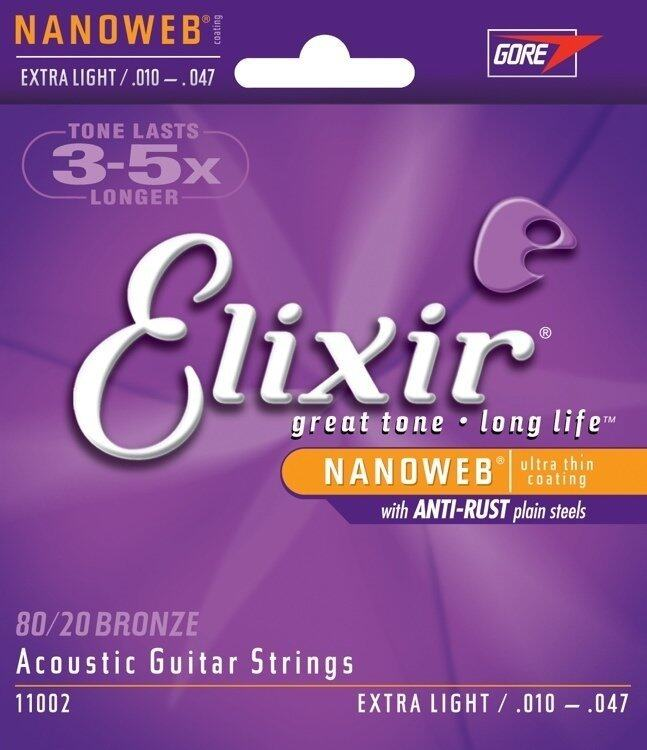 Elixir Acoustic Guitar Strings 80/20 Bronze NanoWeb Coating Antirust Extra Light 010 - 047