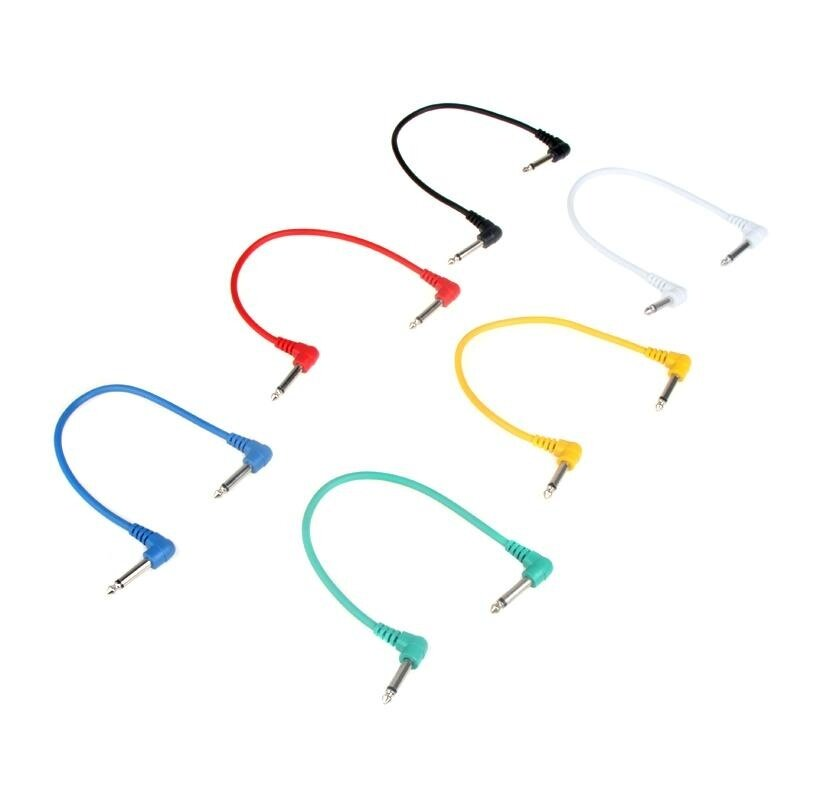 Set of 6pcs Colorful Guitar Patch Cables Angled for Guitar Effect Pedals - intl