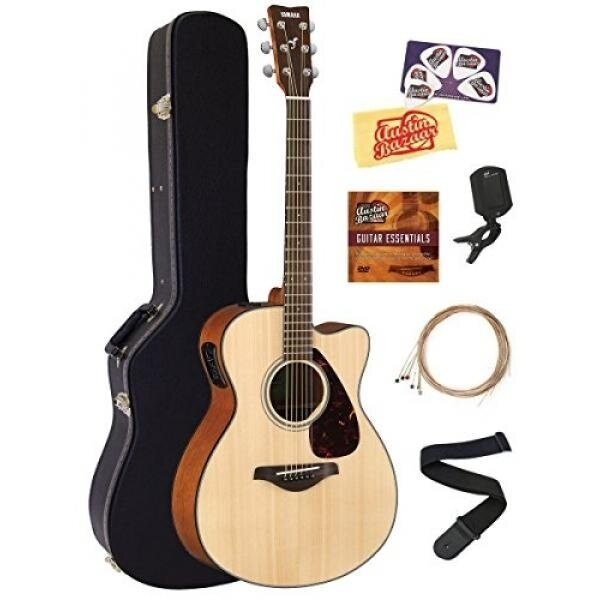 Yamaha FSX800C Body Acoustic-Electric Guitar Bundle with Hard Case, Tuner, Strap, Instructional DVD, Strings, Picks, and Polishing Cloth - Natural - intl