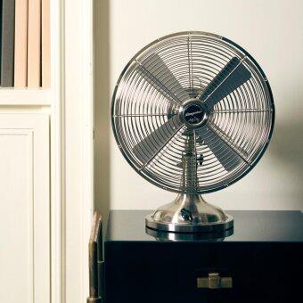 """พัดลมเหล็ก Bungalow Table Fan 12"""" 3 Speed (Nickel Grill / Nickel Base)"""
