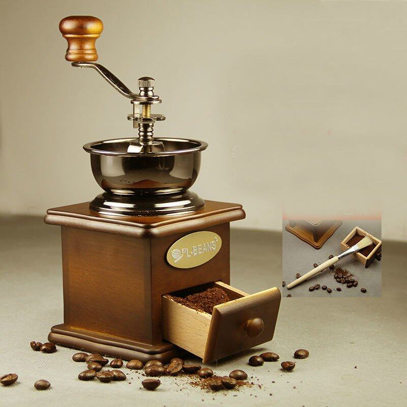 BZHD-37913 Vintage Ceramic Manual Coffee Beans Mill Nut Spice Hand Grinder Stainless Steel - intl