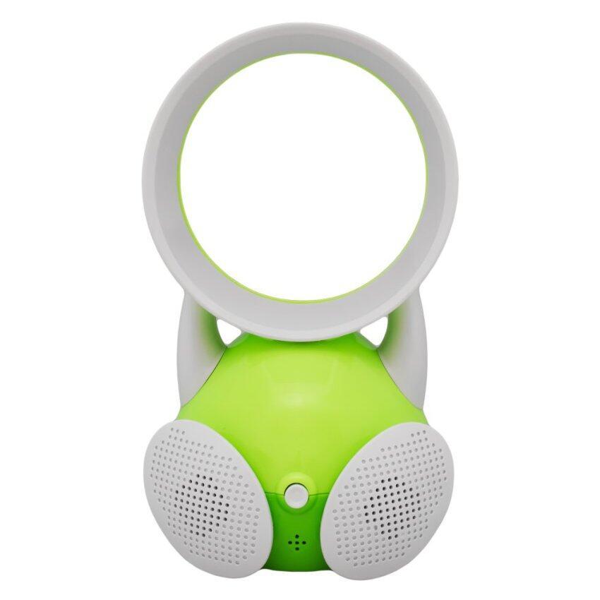 GetZhop พัดลมไร้ใบพัด USB ตัวการ์ตูน รุ่น มีลำโพง เสียบฟังเพลง (Green)