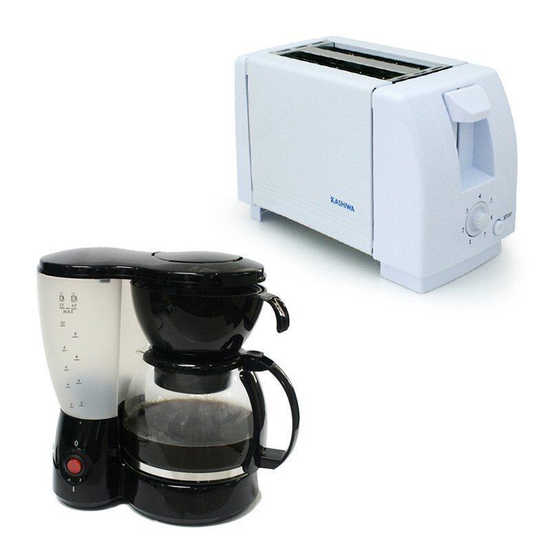 KASHIWA เครื่องปิ้งขนมปัง รุ่น YT-2001(สีขาว) + OXYGEN เครื่องชงกาแฟ รุ่น XZ-608A (Black)