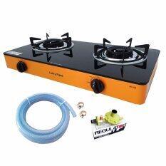 Lucky Flame เตาแก๊สตั้งโต๊ะ2หัวไฟพะเนียง กระจกดำAI-102 -สีส้ม+หัวปรับแก๊ส ปลอดภัยL-325Sพร้อมสายแก๊ส