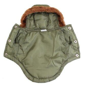 Dog Pet Warm Cotton Jacket Coat Hoodie Puppy Winter Clothes PetCostume New Army Green - intl