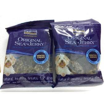 FISH 4 DOGS : Original SEA JERKY dental treats for dogs and cat  อาหารเสริมโปรตีนสำหรับสุนัขทุกช่วงอายุ ขนาด 100 กรัม/ซอง x 2 ซอง