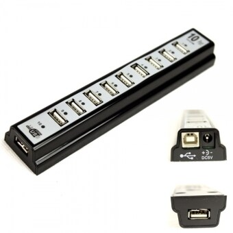 10-Port High Speed USB 2.0 Hub Powered with Adapter (Black)