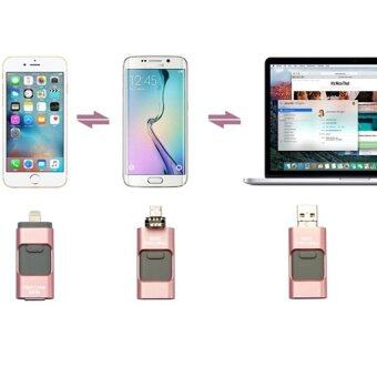128GB 3 in 1 For USB Flash Drive HD Pendrive Lightning data for iPhone6s/6splus/6 for PC/MAC (Pink) - intl