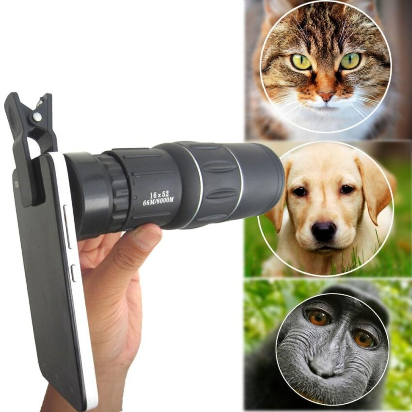 16X52 Monocular Telescope Camera Lens Zoom Hiking Travel +Clip For Smart Phone - intl
