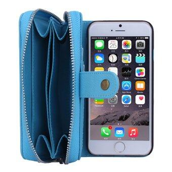 2 in 1 Leather Card Slot Zipper Wallet Phone Cover for iPhone 6 Plus Blue