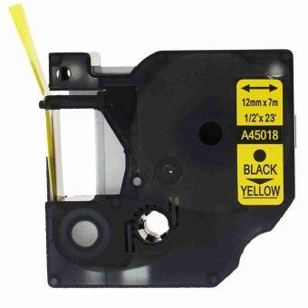 2pcs 45018 Label Tape Compatible for Dymo 45018 Black on Yellow (1/2inch 12mm) x 7m - Intl