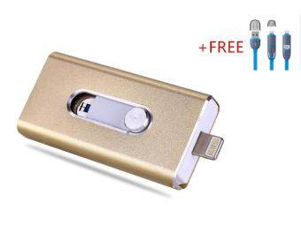 3 in 1 Flash Drive OTG 64GB phone U Disk For Iphone/Iphone 7/Android +Free 2 in 1 usb cable(gold)