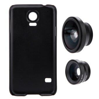 3-in-1 Phone Photo Lens 180 Fisheye 0.67X with Case for Samsung Galaxy S5 (Black)