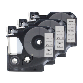 3 pcs black on white 12mm dymo D1 45013 compatible label tape - intl