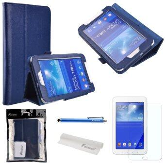4-in-1 Litchi Texture PU Flip Case Cover Stand Set for Samsung Galaxy Tab 3 Lite 7.0 T110 /T111 Dark Blue