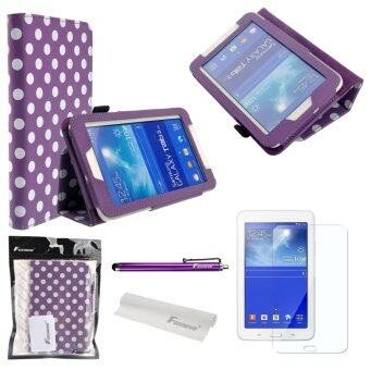 4-in-1 Polka Dots Pattern PU Flip Case Cover for Samsung Galaxy Tab 3 (Purple)