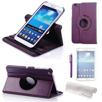 4-in-1 Smart PU Flip Case Cover Set for Samsung Galaxy Tab 3 8.0 T310 T311 T315 (Purple)