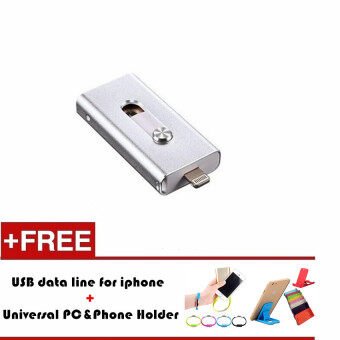 8GB i-Flash Drive Usb Pen Drive Lightning/Otg Usb Flash Drive For iPhone 5/5s/5c/6/6 iPad PC (Silver) - intl
