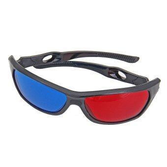 Anaglyph Framed Plasma TV Movie Dimensional 3D Vision Glasses (Red/Blue) - intl