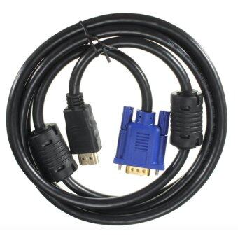 Black 6 ft 1.8M Gold HDTV HDMI to VGA Male HD15 Adapter Cable forPC TV DF