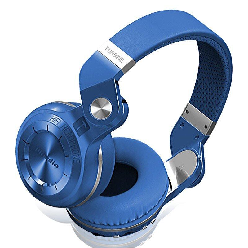 Bluedio T2+ Wireless Bluetooth 4.1 Stereo Hurricane Series Ear Headset with Micro SD Slot & FM For All Smart Phone (Blue)