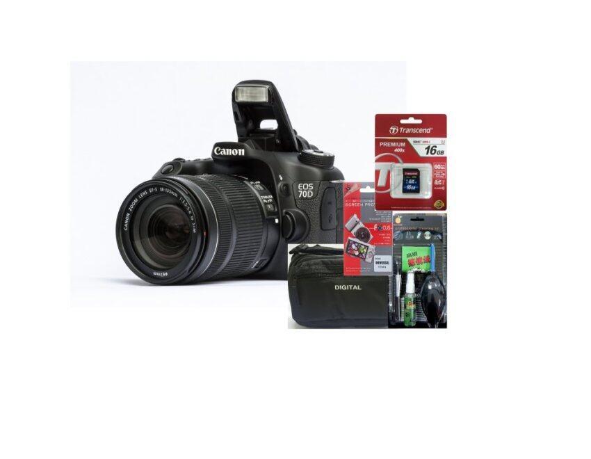 Canon EOS 70D Kit 18-135 IS STM (ประกันร้านEC-Mall) + SD TRANSCEND 16GB (400X) + ฟิล์มกันรอย + ชุดทำความสะอาด + กระเป๋า ...