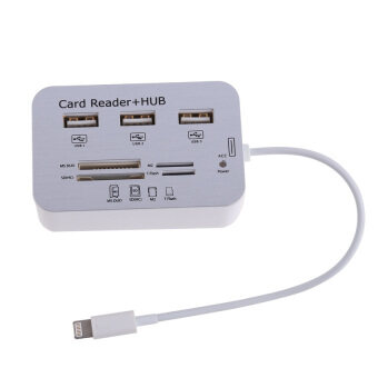Card Reader Adapter 3USB HUB Camera Connection Combo Kit foriPhone6 5S - Intl