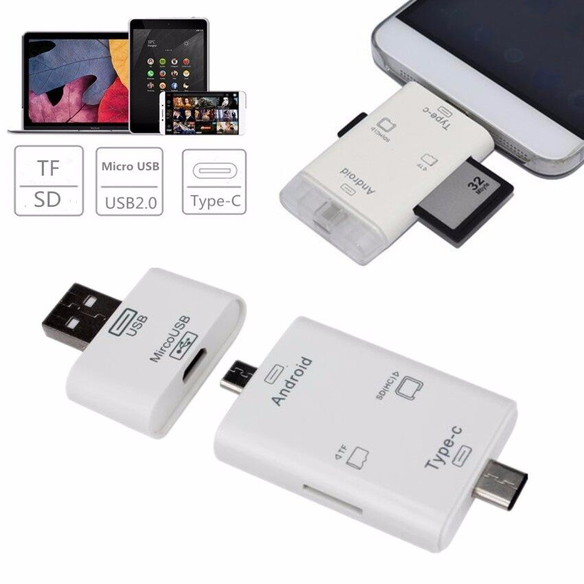 Channy 3in1 Type C Micro USB TF SD MS Card Reader USB 3.1 OTG Adapter For Macbook Phone NEW - intl