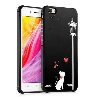 COCOSE Phone Case For Vivo Y55 / Y55A Silicone TPU Back Cover Love Cat Painting Shockproof Waterproof Dirt Resistant Phone Shell (Black) - intl