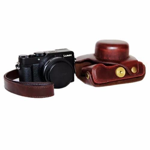 Coffee Camera bag Hard Leather Case Bag For Panasonic Lumix LX100 (Intl) - intl