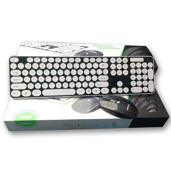 Cute Wireless Bluetooth Keyboard and Mouse Round Button for PC Laptop Black