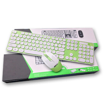 Cute Wireless Bluetooth Keyboard and Mouse Round Button for PC Laptop Green