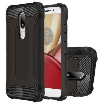 Dual Layer Case For Lenovo Moto M Hybrid TPU PC Heavy Duty Armor Shock Absorbing Protective Cover Black - intl