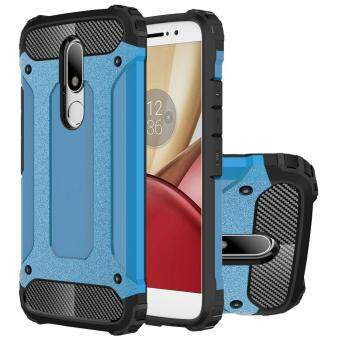 Dual Layer Case For Lenovo Moto M Hybrid TPU PC Heavy Duty Armor Shock Absorbing Protective Cover Blue - intl
