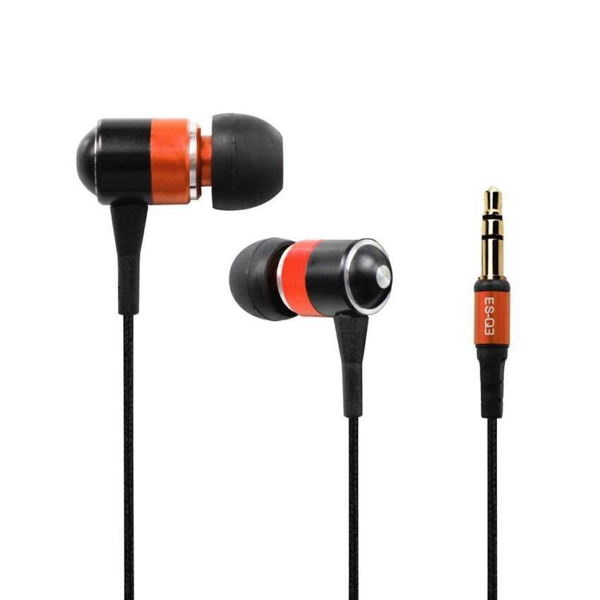 ES-Q3 หูฟังชนิดใส่ในหูขนาด 3.5 มม. แบบ Super Bass ที่มีสายไฟสีแดง (สีส้ม)  - intl image