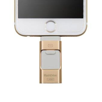 Flash Drive 32GB 3 in 1 Metal USB OTG U Disk Menory Stick (Gold)