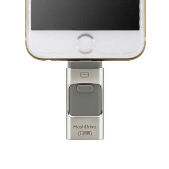 Flash Drive 64GB 3 in 1 Metal USB OTG U Disk Menory Stick (Silver)