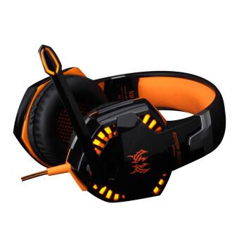 G2000 Over-ear Game Headset Earphone Headband with Mic Stereo Bass LED Light for PC (Orange)
