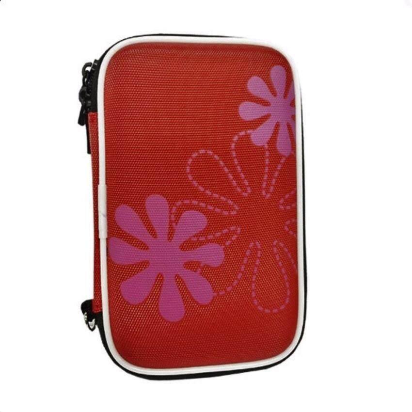 harddisk bag กระเป๋า Hard Disk Drive 2.5 แบบพกพา ฺสีแดง ลายดอกไม้ NBG010