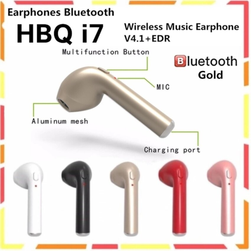 HBQ I7 หูฟังบลูทูธ Bluetooth Earbud Single Wireless Invisible Headphones Headset with Mic Stereo Bluetooth Earphone