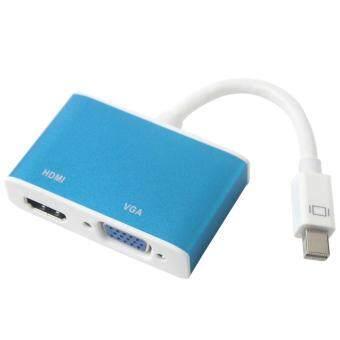 iooiopo Blue 2 In 1 Mini DP to VGA HDMI Adapter Convertor for Apple MacBook MacBook Pro MacBook Air