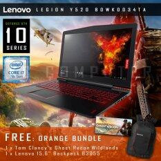 "Lenovo Legion Y520 80WK0034TA 15IKBN 15.6"" IPS Intel Core i7-7700HQ 4-Cores KabyLake 4GB DDR4 GTX 1050 4GB GDDR5 1TB HDD Black Body แถมฟรี LENOVO Bundle"