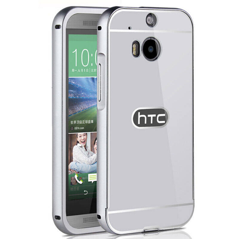 Metal Case Acrylic Back Cover and Aluminum Frame Set Phone Bag Case for HTC One M8 (Silver) ...