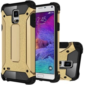 Mooncase Case For Samsung Galaxy Note 4 Hybrid Full Body Heavy DutyArmor Case Dual Layer Shock Absorbing TPU Protective Case Gold -intl