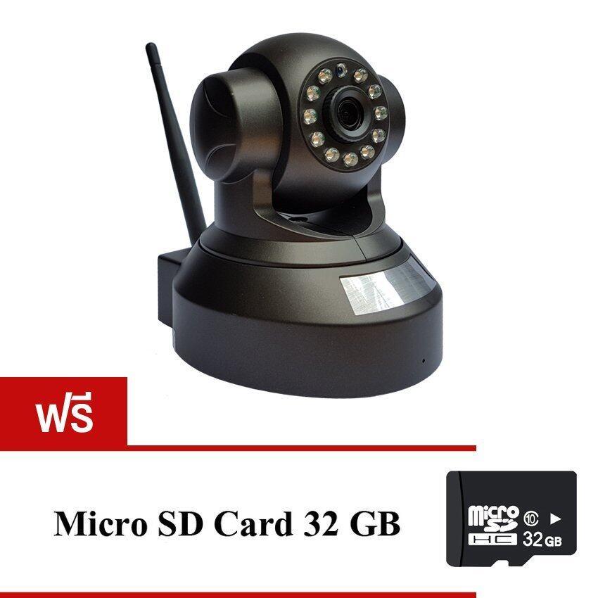 ด่วนp2p Cam IP Camera Full HD กล้องวงจรปิดไร้สาย (Black) แถมฟรี MicroSD Card 32GB กำลังลดราคา