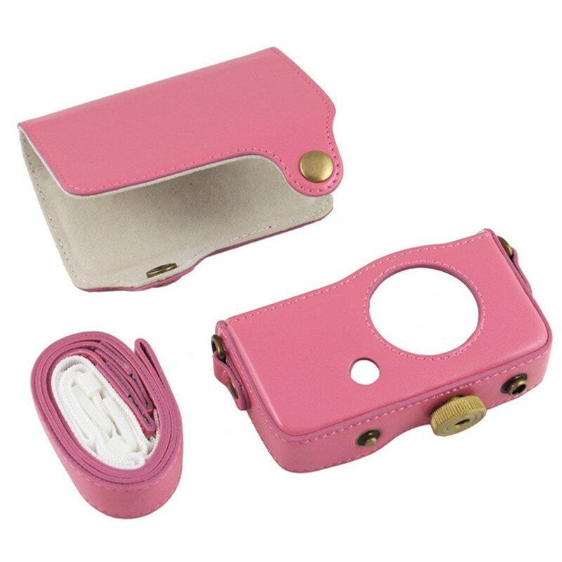 PU Leather Camera Case Bag Cover for Casio Exilim ZR-50 ZR50 with Strap (Pink) ...