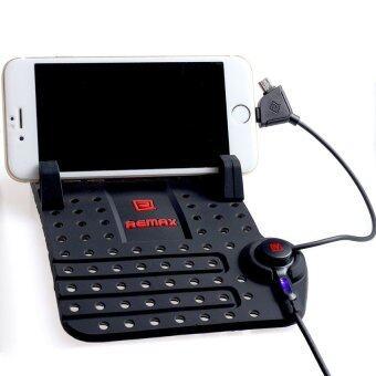 Remax แท่นวางโทรศัพท์ในรถยนต์พร้อมที่ชาร์จในตัว (สีดำ)